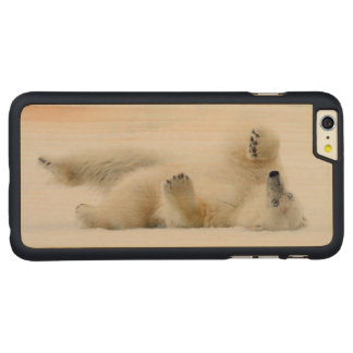 Polar bear rolling in snow, Norway Carved Maple iPhone 6 Plus Case
