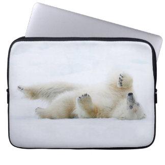 Polar bear rolling in snow, Norway Laptop Sleeve