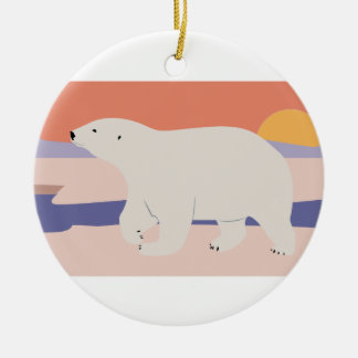 Polar Bear Round Ceramic Decoration