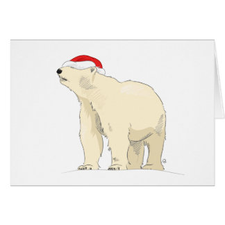 Polar Bear Santa Hat Christmas Card
