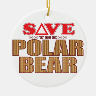 Polar Bear Save Round Ceramic Decoration
