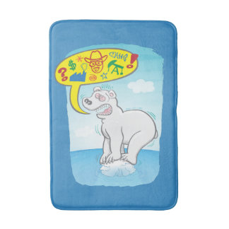 Polar bear saying bad words standing on tiny ice bath mat