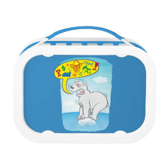 Polar bear saying bad words standing on tiny ice lunch boxes