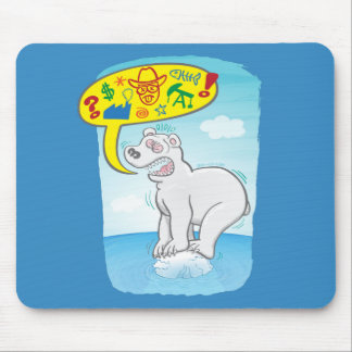 Polar bear saying bad words standing on tiny ice mouse pad