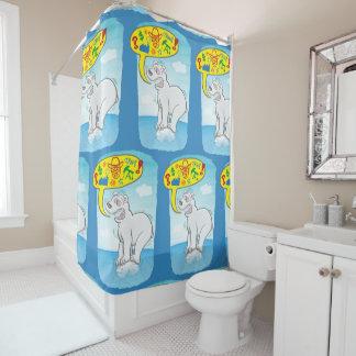Polar bear saying bad words standing on tiny ice shower curtain