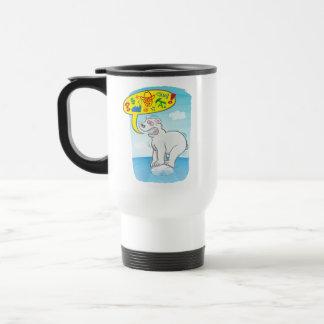 Polar bear saying bad words standing on tiny ice travel mug