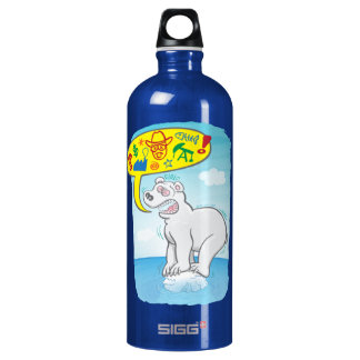 Polar bear saying bad words standing on tiny ice water bottle