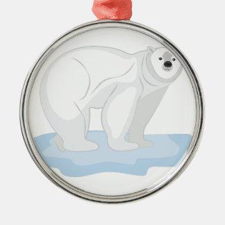 Polar Bear Silver-Colored Round Decoration