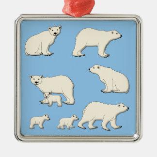 Polar bear Silver-Colored square decoration