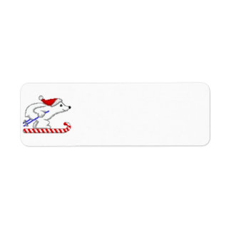 Polar Bear Skiing Label Return Address Label