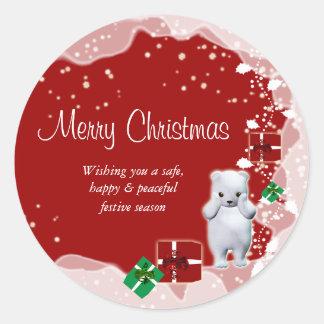 "Polar bear snow ""Merry Christmas"" Round Sticker"