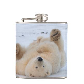 polar bear, Ursus maritimus, cub rolling 3 Hip Flask