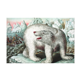 Polar Bear Vintage Painting Gallery Wrap Canvas