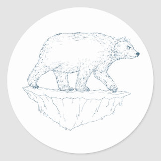 Polar Bear Walking Iceberg Ukiyo-e Classic Round Sticker