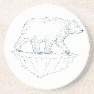Polar Bear Walking Iceberg Ukiyo-e Coaster