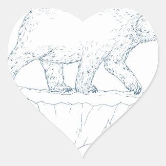 Polar Bear Walking Iceberg Ukiyo-e Heart Sticker