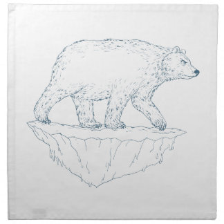 Polar Bear Walking Iceberg Ukiyo-e Napkin