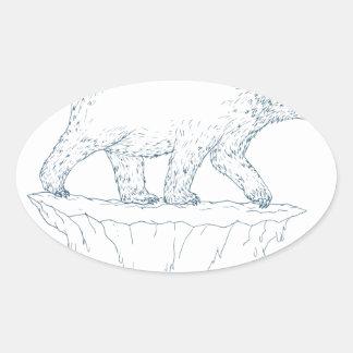 Polar Bear Walking Iceberg Ukiyo-e Oval Sticker
