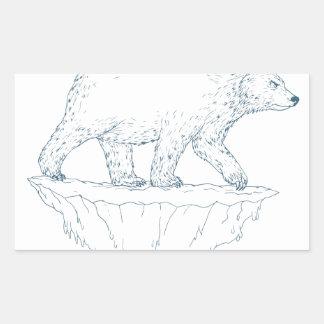 Polar Bear Walking Iceberg Ukiyo-e Rectangular Sticker