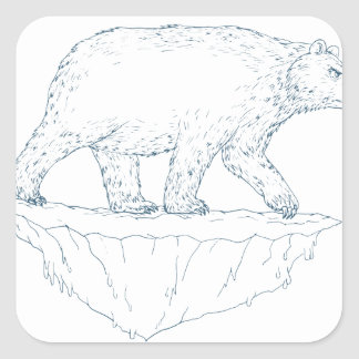 Polar Bear Walking Iceberg Ukiyo-e Square Sticker