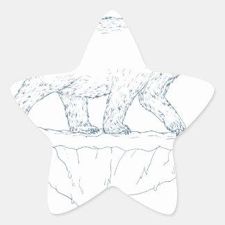 Polar Bear Walking Iceberg Ukiyo-e Star Sticker