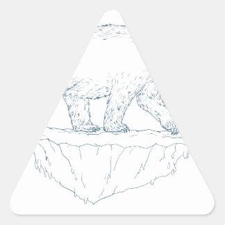 Polar Bear Walking Iceberg Ukiyo-e Triangle Sticker