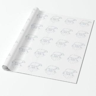 Polar Bear Walking Iceberg Ukiyo-e Wrapping Paper