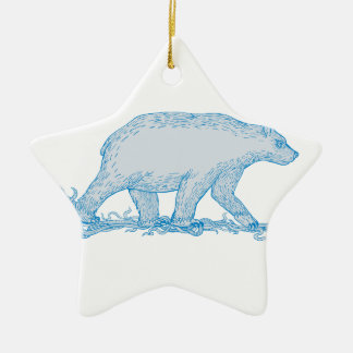 Polar Bear Walking Side Drawing Ceramic Ornament