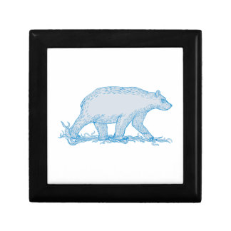 Polar Bear Walking Side Drawing Gift Box