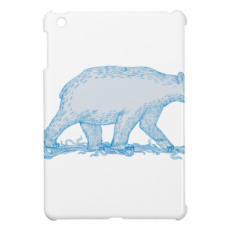 Polar Bear Walking Side Drawing iPad Mini Case
