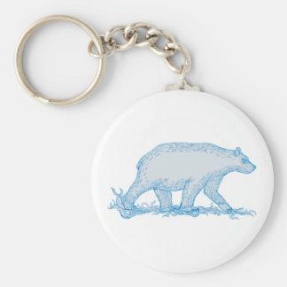 Polar Bear Walking Side Drawing Key Ring