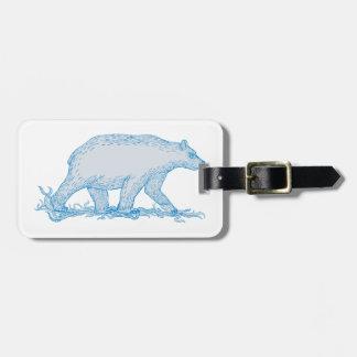 Polar Bear Walking Side Drawing Luggage Tag