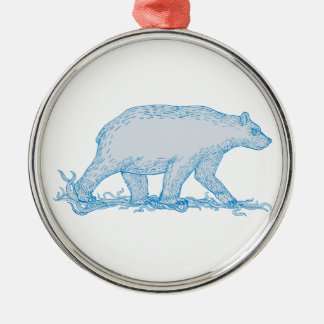 Polar Bear Walking Side Drawing Metal Ornament