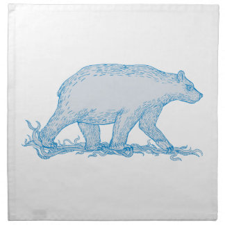 Polar Bear Walking Side Drawing Napkin