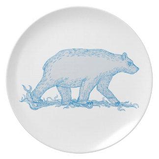 Polar Bear Walking Side Drawing Plate
