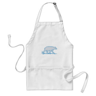 Polar Bear Walking Side Drawing Standard Apron