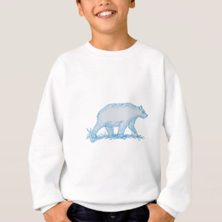 Polar Bear Walking Side Drawing Sweatshirt