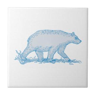 Polar Bear Walking Side Drawing Tile