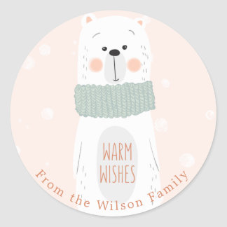 Polar bear Warm Wishes   Custom Christmas Sticker