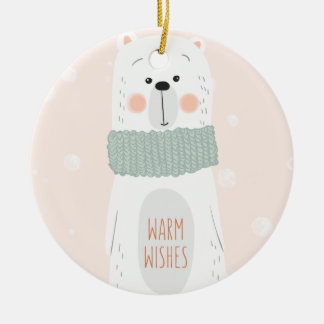 Polar bear | Warm wishes | Cute Christmas Ornament