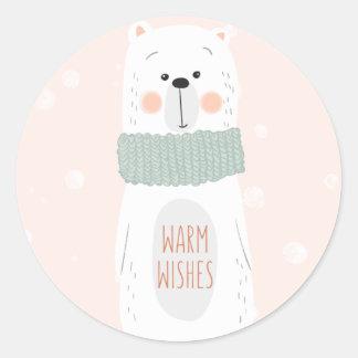Polar bear   Warm Wishes   Cute Christmas Sticker