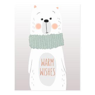 Polar bear - Warm Wishes - Fun Christmas postcard