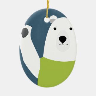 Polar Bear Waving Ceramic Oval Decoration