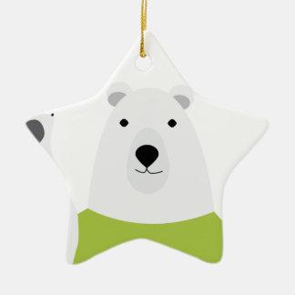 Polar Bear Waving Ceramic Star Decoration