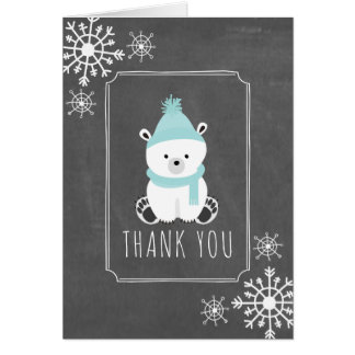 Polar Bear Winter Baby Shower Thank You Blue Card