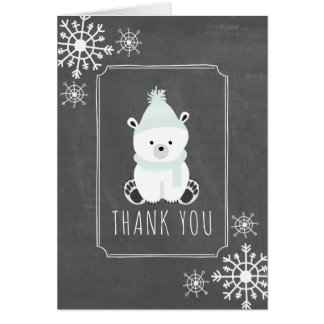 Polar Bear Winter Baby Shower Thank You Green Card