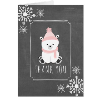 Polar Bear Winter Baby Shower Thank You Pink Card