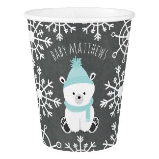 Polar Bear Winter Blue Baby Shower Paper Cup