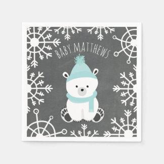 Polar Bear Winter Boy Baby Shower Napkins Disposable Serviettes