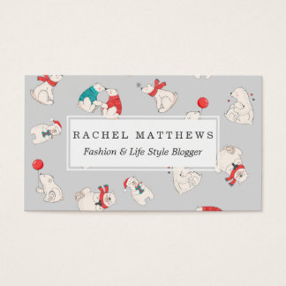 Polar Bear Winter Christmas Holiday Illustrations Business Card